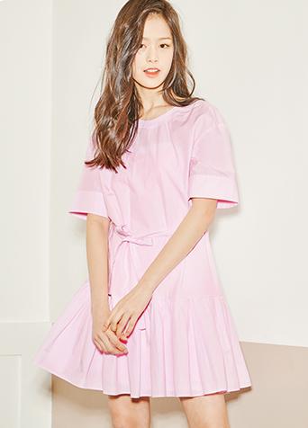 핑크 백 포인트 원피스S