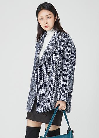 코쿤 헤링본 코트