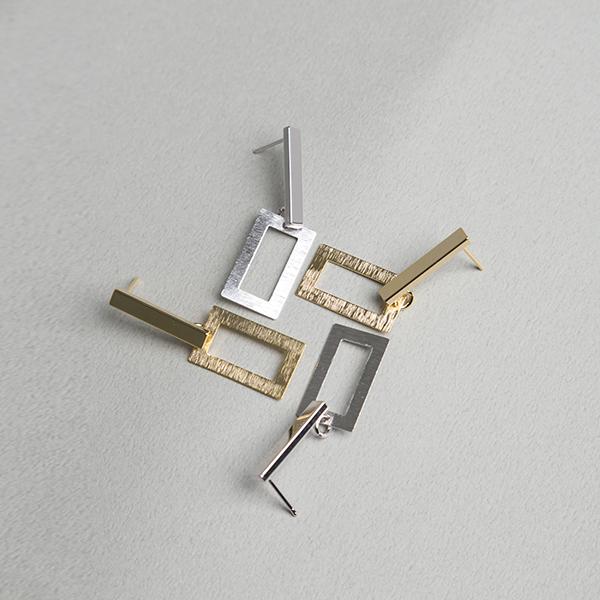 (E-1228)스퀘어 레이어드 귀걸이