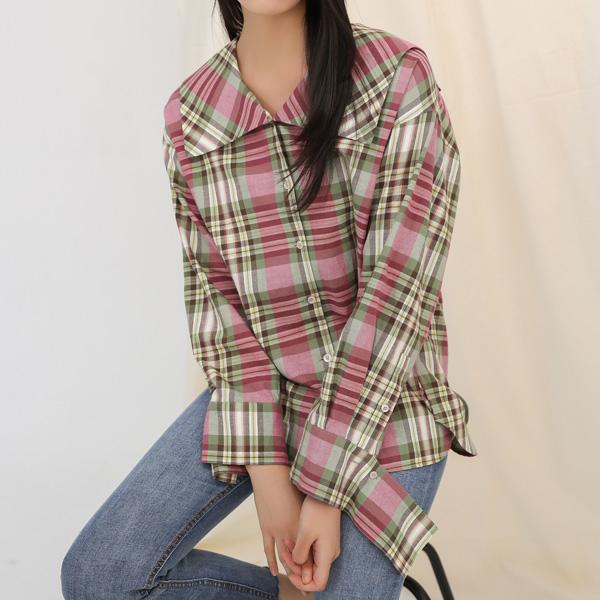 (BL-2928)빅카라 핑크 체크 셔츠