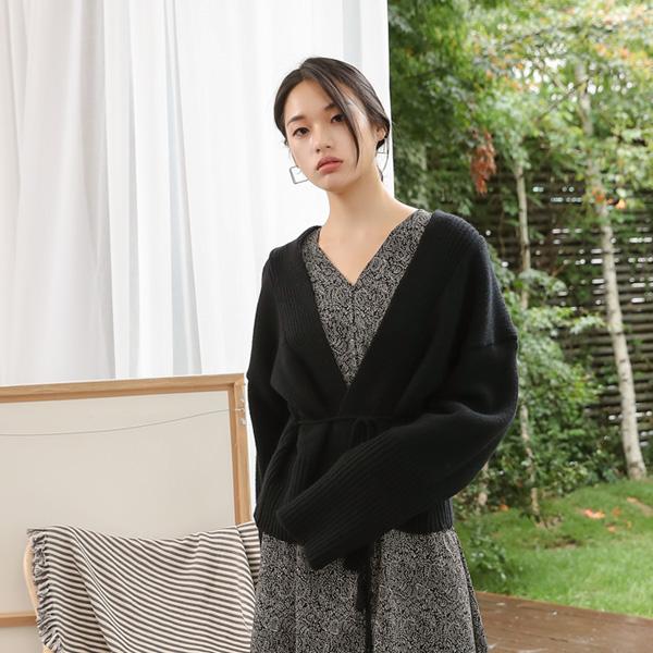 (CD-1204)루즈 슬리브 울 스트링 가디건