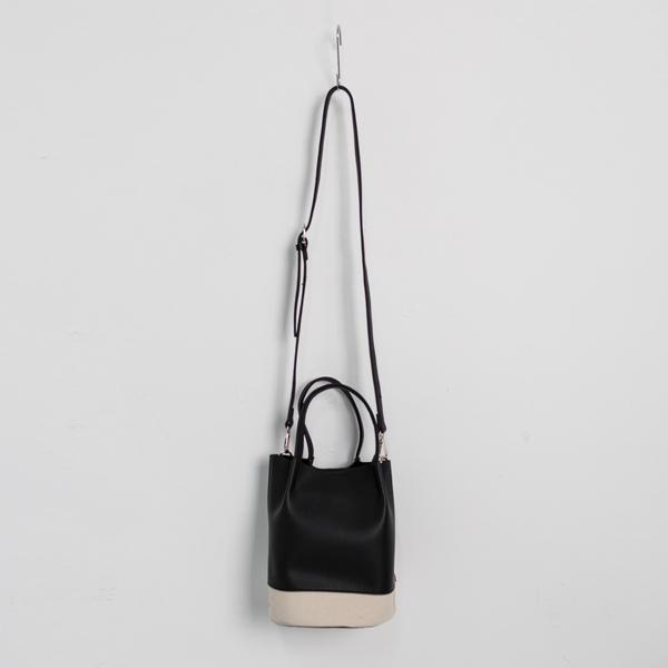 (B-1860)믹스 패브릭 버킷 백