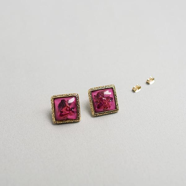 (E-1250)핑크 스퀘어 귀걸이