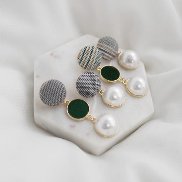 (E-1263)언발란스 믹스 패브릭 귀걸이
