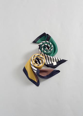 패턴 믹스 실크 스카프