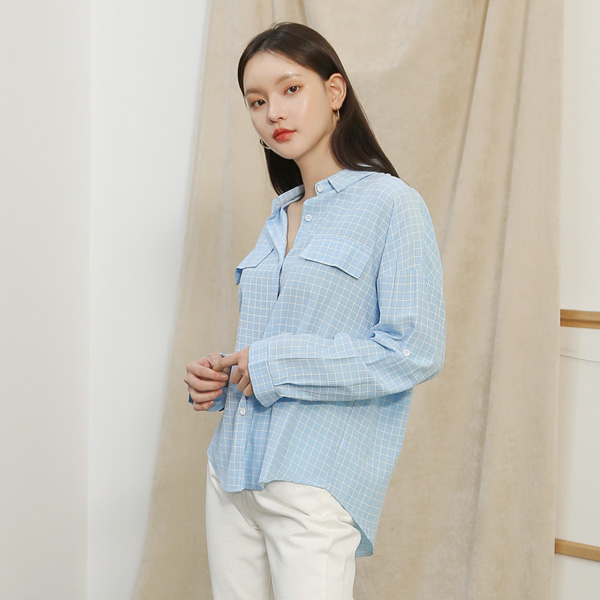 (BL-3200)스퀘어 패턴 포켓 셔츠 블라우스