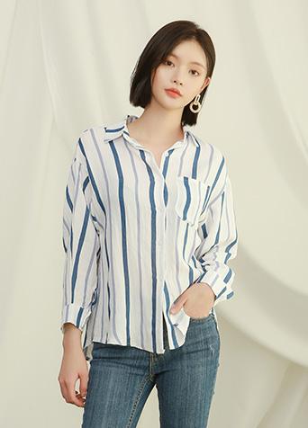 믹스 컬러 스트라이프 셔츠 블라우스