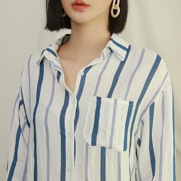 (BL-3201)믹스 컬러 스트라이프 셔츠 블라우스