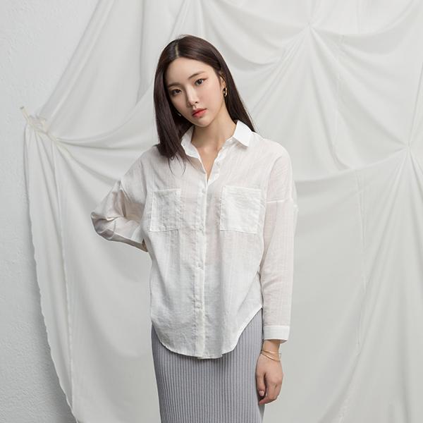 (BL-3259)체크 패턴 포켓 셔츠 블라우스