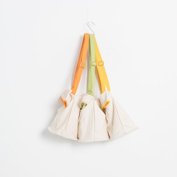(B-1990)포켓 배색 캔버스백