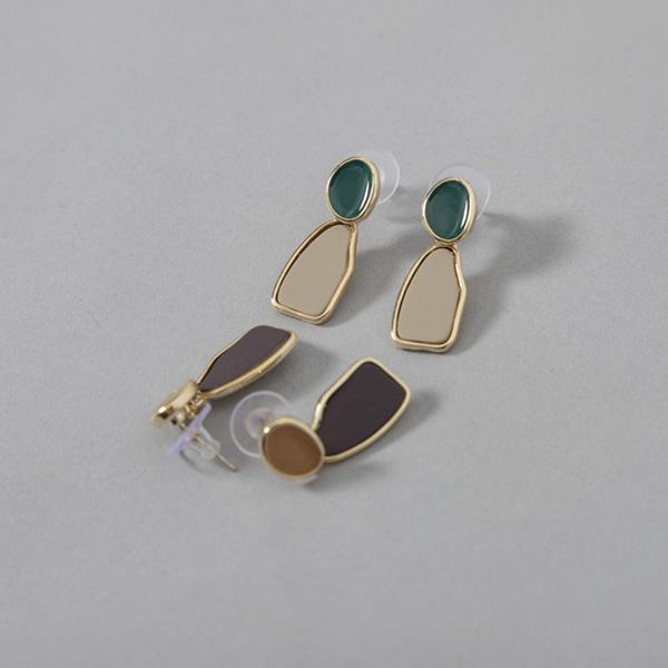 (E-1325)컬러 매치 플레이트 귀걸이
