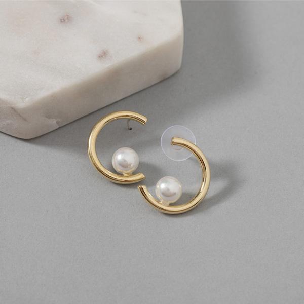 (E-1323)펄 앤 서클 포인트 귀걸이