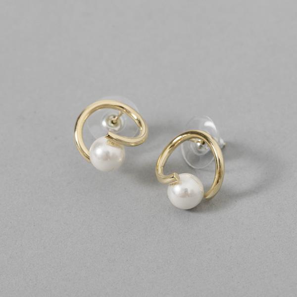 (E-1360)서클 펄 라인 귀걸이