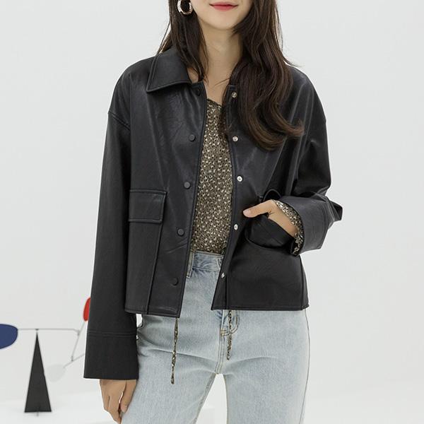 (JK-2018)에코 레더 셔츠 자켓