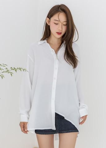 백 슬릿 언발란스 셔츠 블라우스